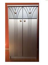 Badschrank Unterschrank Silber Anthrazit Schrank Bad mit 2 Türen und Schubladen