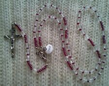 CLEAR CRYSTAL ROSARY WITH PURPLE-SILVER PLATED-MADE IN CZECH