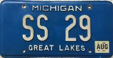 GENUINE American Michigan Great Lakes Vanity License Licence Number Plate SS 29