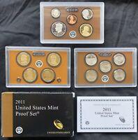 USA 2011 S Proof Set PP polierte Platte ATB Quarter Presidental Dollars 1c-$1