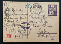 1941 Petrikau GG Germany Postcard Cover To Undercover Address Lisbon Portugal
