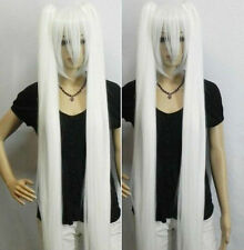 Anime Snow Miku Long Straight pure White twin tail Cosplay Wig    H275