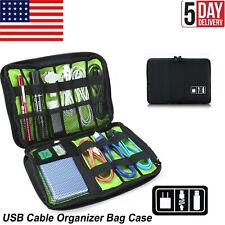 Cable Organizer Bag Small Cord Travel Tech Electronics Accessories Bag Black