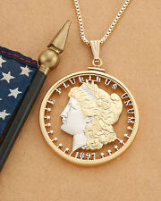"Morgan Dollar Lady Liberty Pendant Hand Cut, 1-1/2"" diam.( #324 )"