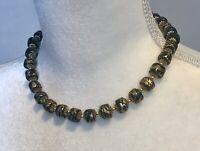 """vintage 16"""" necklace black gold beads"""