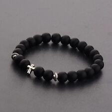 Fashion Cross Beaded Rosary Adjustable Black MAtte Bead Men Charm Bracelets