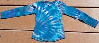 Tie Dye LS T-Shirt Youth Girl's XS Blue Sea Swirl Hanes kids Free S/H