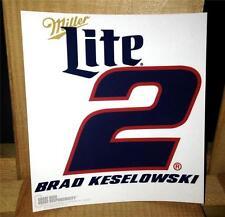 "MILLER LITE BRAD KESELOWSKI DECAL NASCAR RACING CAR WINDOW STICKER 5"" x 5.5"""