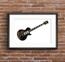 Keith Richards' Gibson Les Paul Personalizzato Nero Bella Chitarra Poster Stampa