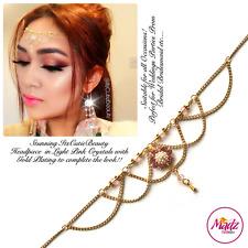 Gold Light Pink Head Hair Piece Indian Costume Jewellery Matha Patti Scarf Hijab