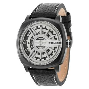 Police Men's Watch Stainless Steel Leather Band White/Black Dial R1451290002