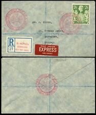CZECHOSLOVAKIA WW2 FIELD POST on GB REGISTERED P.O EXPRESS DELIVERY 1943...2/6