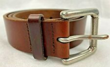 Banana Republic Brown Distressed Leather Belt Size 34 Silver Roller Buckle
