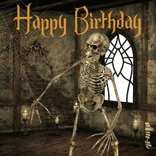 Happy Birthday Card girl boy scary skeleton creepy spiders web in castle