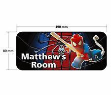 Lego Spiderman Personalised Childrens Bedroom Door Plaque Sign Boys Girls
