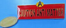 PIN vtg '89 Star Trek TNG - CAUTION ANTI MATTER - BAR Pin Two Studs