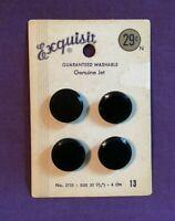 """*Vintage EXQUISIT Button Card Set 4 Black JET Glass Buttons 3/4"""""""