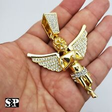 HIP HOP ICED RAPPER STYLE LAB DIAMOND GOLD PLATED BABY ANGEL LARGE CHARM PENDANT