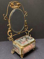Antique French Bridal Casket Jewelry Box Bird Motif Bevel Glass Ormolu Vitrine
