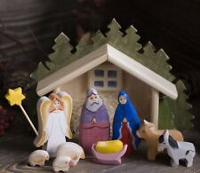 Nativity Wooden Set , Nativity Scene, Set of 9 hand painted carved figurines