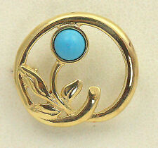 BJC® Vintage 9ct Yellow Gold Natural Turquoise Flower Brooch Excellent Condition