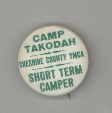 CAMP TAKODAH Vintage Pinback BUTTON Badge CHESHIRE COUNTY Richmond New Hampshire
