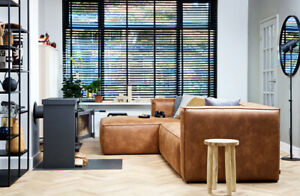 Eckgarnitur BEAN Leder cognac Couch Polster Sofa Ecksofa Longchair Links