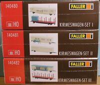 Faller 140480, 140481, 140482, Spur H0, Bausatz (Kunststoff) Kirmeswagen-Set 1-3