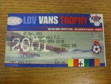 22/04/2001 Ticket: Football League Trophy Final, Brentford v Port Vale  . Thanks