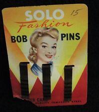Vintage Solo Fashion Bob Pins - Black / 1950's  ~ New on Card