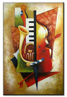 Modern Handmade Music Abstract Oil Painting on Canvas Living Room Wall ART Decor