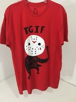 BUSTEDTEES MEN'S TGIF FRIDAY THE 13th SHORT SLEEVE T SHIRT LARGE RED NEW