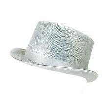 Adult Silver Glitter Lurex Top Hat Tap Dancing Fancy Dress Costume Prop