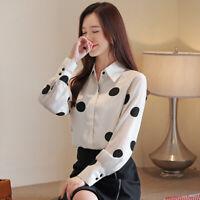 Career Women Chiffon Blouse Polka Dot Button -Down Shirt Casual Top Blouse S-2XL