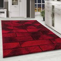Gabbeh Optik Kurzflor Teppich Wohnzimmerteppich Büro Einfarbig Rot Meliert
