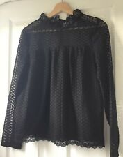 NEW! La Redoute Ladies Black Geometric Lace Blouse With Ruffle Neck - size 8