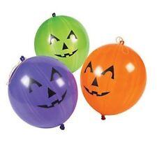 "12 HALLOWEEN Party Favors Rubber Jack O Lantern pumpkin PUNCH BALL Balloons 10"""