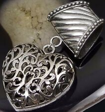 Scarf Pendant Silver Pewter Filigree Heart Slide Scarves