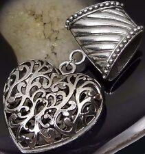 Scarf Pendant Silver Pewter Filigree Heart Slide Scarves