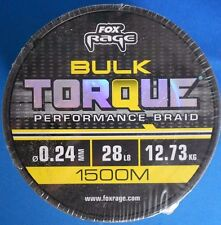 FOX RAGE BULK TORQUE PERFORMANCE BRAID 28lb 12.73kg 0.24mm 1500m spool NBL053