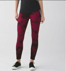 Lululemon Wine Berry Bordeaux Drama Tie Dye Ebb To Street Pants Leggings Size 6