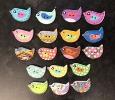 10 Wooden Bird Buttons Sewing Card Making Scrapbook Craft Embellishments