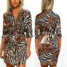Womens Leopard Animal Print Shirt Dress Collared Ladies Belted Wrap Dress Shor|