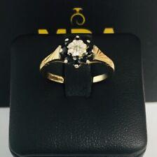 9CT YELLOW GOLD SAPPHIRE & DIAMOND CLUSTER RING