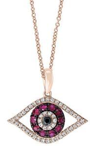 NEW!14k Rose Gold,  Diamond & Ruby Evil Eye Necklace By EFFY/ $1,350