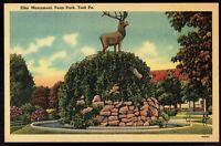 Pennsylvania, York Penn Park Elks Monument Vintage Linen Postcard pa29