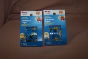 (2) CVS Children's Decorated Adhesive Tape Secures Wound Dressings Despicable Me