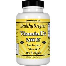 Healthy Origins Vitamin D3 5,000 IU 360 Softgels Immune Health vitamin Vit D