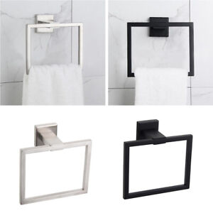 Stainless Steel Hand Towel Holder Ring Rack Rail Wall Mount Square Bathroom Home