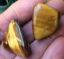 2 x GOLDEN TIGERS EYE LARGE CRYSTAL POLISHED TUMBLE STONE 30mm BAG & ID CARD